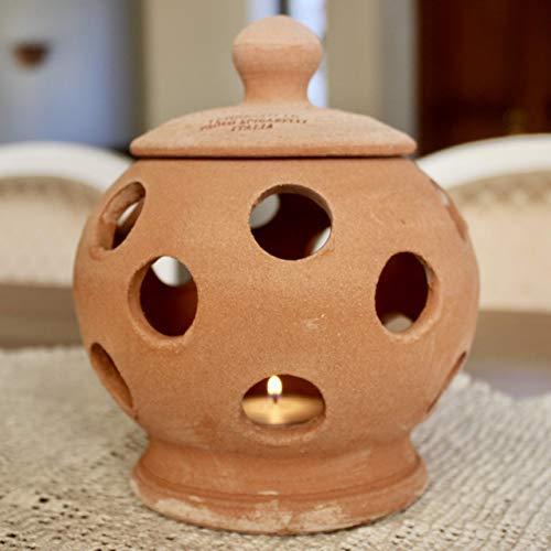 Lanterna da tavolo Terracotta con coperchio (alta 20 cm, diametro 16 cm) 100% made in Italy lavorato a mano al tornio (non a stampo) Porta candele interno casa esterno giardino