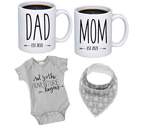 """Pregnancy Gift Est 2021 - New Mommy and Daddy Est 2021 11 oz Mug Heart Set with""""Let Adventure Begin"""" Romper (0-3 Months) - Top Mom and Dad Gift Set for New and Expecting Parents to Be - Baby Shower"""
