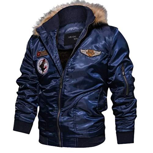 Abrigos de Moda Militares Casuales de los Hombres Abrigo de Invierno de algodón Grueso Chaqueta de Bombardero Chaqueta piloto Capa táctica del ejército Traje Deportivo cálido (XL, Azul)
