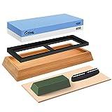 Knife Sharpening Stone Set, G-TING Dual Grit 1000/6000 Whetstone Knife Sharpener Kit, Leather Honing...