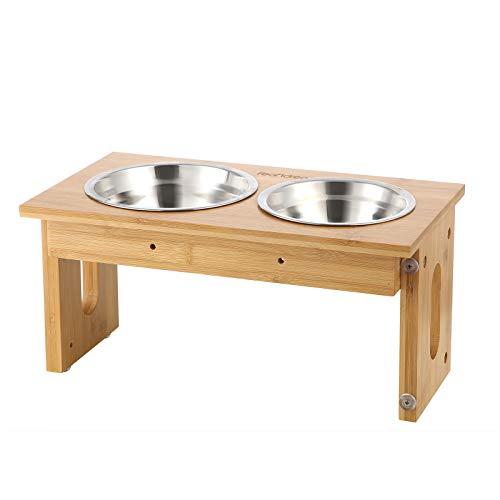FEANDREA Hundenapf Katzen, 2 Fressnäpfe, Bambus, höhenverstellbar PRB004N01