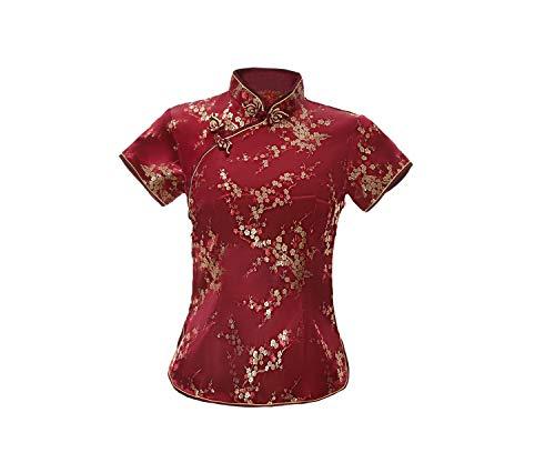 ACVIP Damen Pflaumenblüte Qipao Oberteile Stehkragen Kurzarm Chinesische Bluse Top(China XL/EU 40,Weinrot)