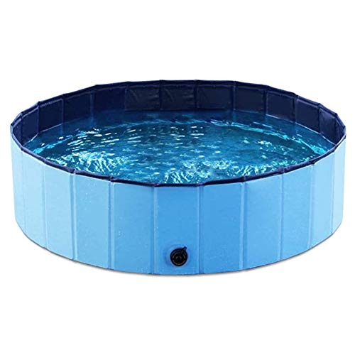 Cuteboom Foldable PVC Dog Cat Water Pool Pet Outdoor Swimming Playing Pond Animal Water Tool in Summer (Blue,M)