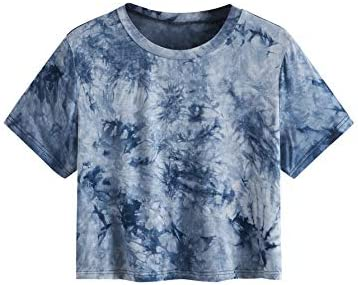 SweatyRocks Women's Casual Short Sleeve Crew Neck Basic Crop Top T Shirts