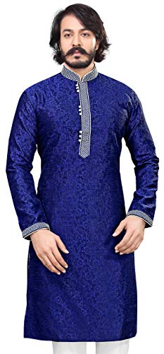Akhanddeep Men's Designer Stitched Long Sleeve Cotton Silk Kurta