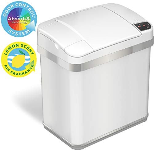 iTouchless 2.5 Gallon Bathroom Touchless Trash Can with Odor Filter and Fragrance, Automatic Sensor Lid, Home or Office, 9.5 Liter, 2.5-Gallon, Matte Finish Pearl White