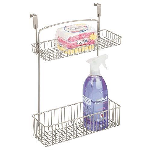 mDesign Metal Farmhouse Over Cabinet Kitchen Storage Organizer Holder or Basket - Hang Over Cabinet Doors in Kitchen/Pantry - Holds Dish Soap, Window Cleaner, Sponges - Satin