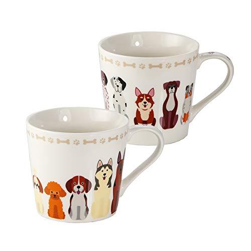 Juego de 2 Tazas Desayuno Originales de Porcelana Fina, Taza de Café Grandes con Diseño de Perros, Regalo para Mujer y Hombres Amantes de los Perros