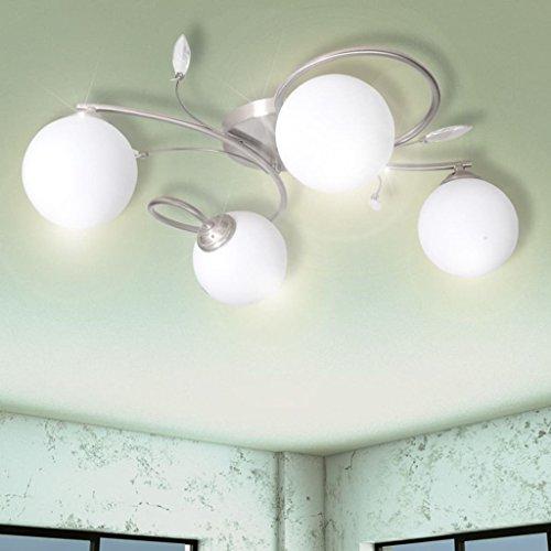 Tiauant Haus und Garten Beleuchtung Hängeleuchten Deckenlampe Hängeleuchte mit Acrylglaskugeln 4 x G9 Hängeleuchte Herd Typ: G9