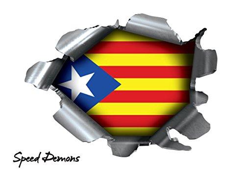 Speed Demons Pride Burst Rip Torn Reißfestigkeit Aufkleber Graphic, selbstklebend, für jede Oberfläche inkl. Laptops und Autos–Katalonien Katalanische Catalunya National Flagge