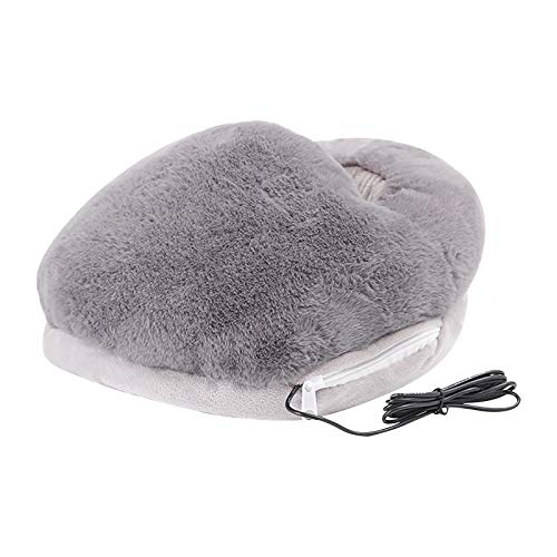 A/B Fußwärmer Elektrische Heizung Hausschuhe,Wärme und Entspannung für beanspruchte Füße,USB Wärmeschuhe Heizung Hausschuhe Fußheizung Fußwärmetherapie Wärmekissen für Winter Büro (Grau)