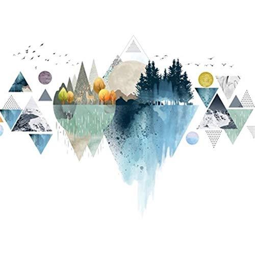 NBKLSD Poster de Bricolaje Creativa Triángulo Nórdico de la montaña Pegatinas de Pared Decoración Salón Dormitorio Arte Mural Vinilos Decorativos autoadhesivos (Color : Pink, Size : XL)