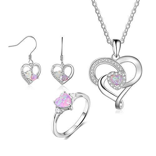 SALAN 925 Conjuntos De Joyas De Plata Esterlina con Rosa Corazón Opal Piedra Claro Cz Anillo Collar Pendientes Bridales Joyería Conjunto