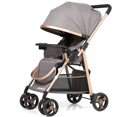 Kiter Cochecito de bebé Cochecito de bebé, plegable, ultraligero, portátil, amortiguador de choque bidireccional Cochecito de dos vías (color gris)