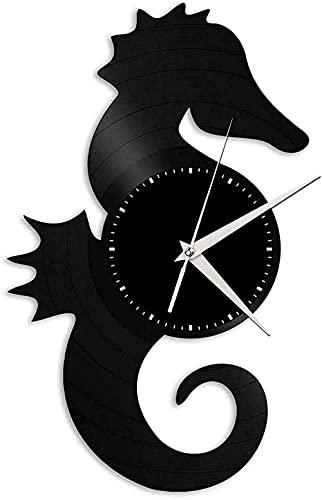 Caballito de mar Reloj de Pared de Vinilo Muebles para el hogar Regalos Elegantes Hombres y Mujeres decoración de la Sala de Estar Oficina de diseño Retro Barra de Bar decoración de la habitación