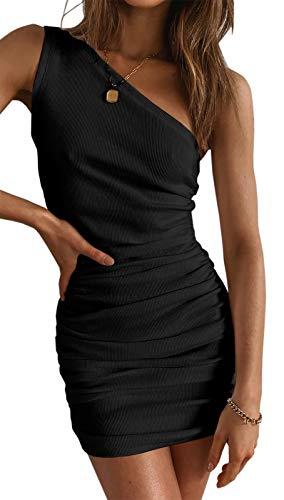 Maxwinee Damen Kleid Sexy Bodycon Minikleid One Shoulder Ruched Schulterfrei Sommerkleid Partykleid Club Kleid