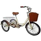 OHHG Triciclo Adultos 20 Pulgadas, Asiento Ajustable, Bicicletas 3 Ruedas Cesta la Compra, Bicicleta Crucero Tres Ruedas recreación, Compras, Picnic, Ejercicio