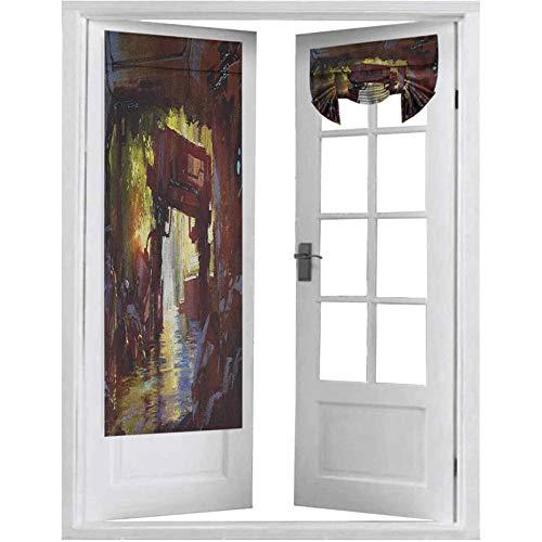 French Doors, Acuarela Arte de Bosque Futurista Máquina Vieja en la Cascada del Bosque, 2 paneles - 66 x 172 cm cortinas oscurecedoras para puerta de cristal, multicolor