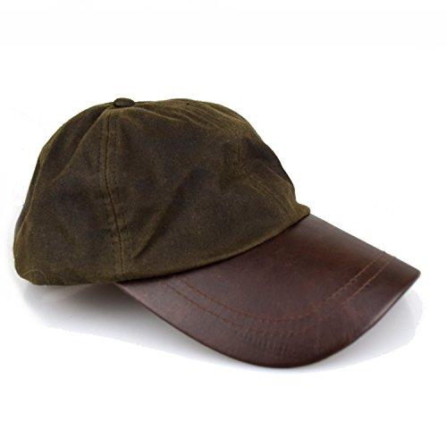Romneys Wachscap | aus 100% gewachster Baumwolle, Wind und wasserdicht | Farbe: Oliv | One Size