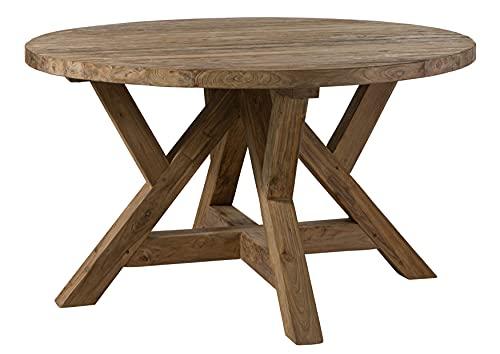 MASSIVMOEBEL24 Esstisch rund 160cm, massives Teakholz, Küchentisch aus unbehandeltem Massivholz, Holztisch mit gekreuztem Tischgestell, natürliche Farbe und Holzmaßerung