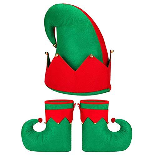 Amosfun 3 Stück Weihnachtselfe Filzhut Elfen Schuhe Weihnachtsmänner Weihnachtsfeier Kostüm Set Weihnachtsfeiertag Gefälligkeiten für Erwachsene Frauen Verkleiden (Rot Grün)
