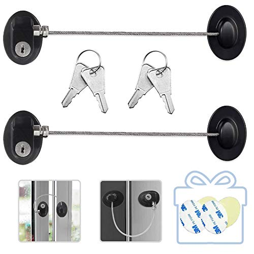 Refrigerator Door Locks 2PCS Fridge Freezer Lock with Keys Child Safety Cabinet File Drawer Lock with Strong 3M Adhesives,Black
