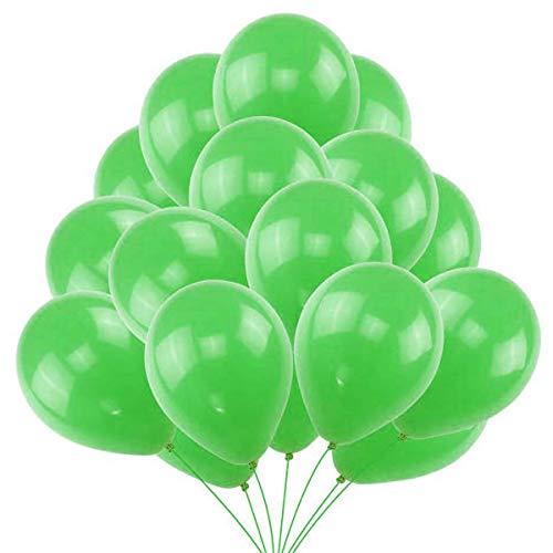 50 Globos Verdes Brilante de Látex de 36 cm. Globo Verde por Helio de 3,2g. Decoraciones y Accesorios para Fiesta de Cumpleaño