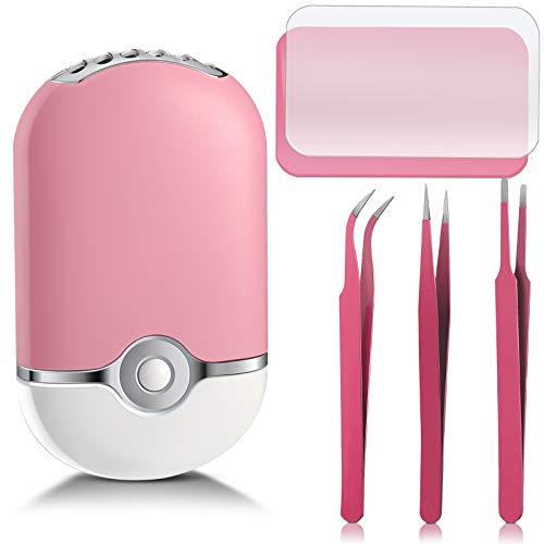 Mini Ventilador USB de Pestañas Portátil Ventilador Secador de Pestañas Recargable de Mano, 2 Almohadillas de Silicona con Soporte para Pestañas Postizas y 2 pinzas Puntiagudas Curvas Rectas
