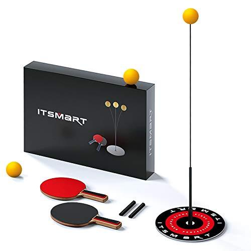 Kesntto Entrenador de tenis de mesa, juguete para niños, juego de tenis de mesa de entrenamiento, mango flexible elástico desmontable, juego de tenis de entrenamiento(2 unidades + 3 pelotas + 1 base)