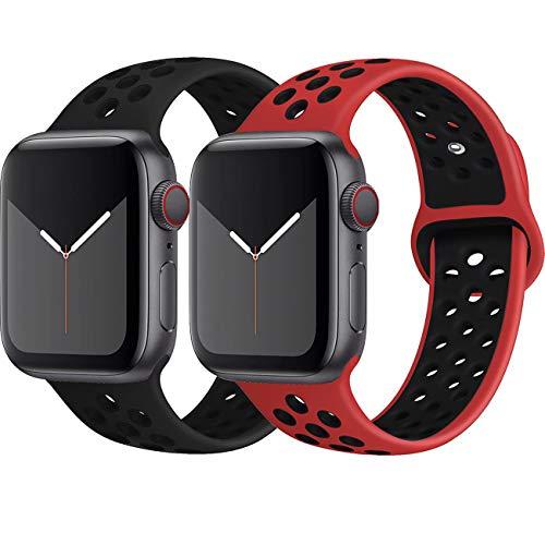 INZAKI Kompatibel mit Apple Watch Armband 42mm 44mm,weich atmungsaktives Silikon Sport Ersatzband für Armband für iWatch Serie 5/4/3/2/1,Nike+,Sport,wasserdicht,M/L,BlackBlack/RedBlack