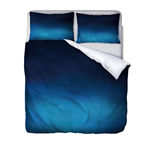 zzqxx Duvet Cover Set King Size Bed Blue gradient Bedding Set Quilt Cover with Zipper Closure Includes Bedlinen 2 Pillowcases for Kids Teens Adults 230x220cm