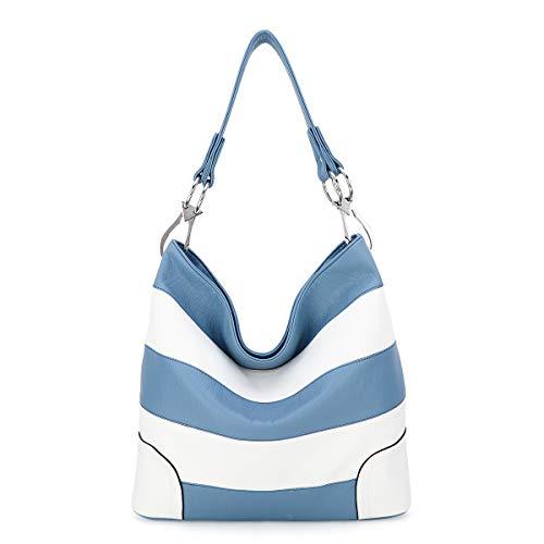 Angel Barcelo Satchel Geldbörsen für Frauen, Ultra Soft Vegan Leder Geldbörsen und Handtaschen, Tragetasche (R-0038-Blue) (KL2239P BLUE WHITE)