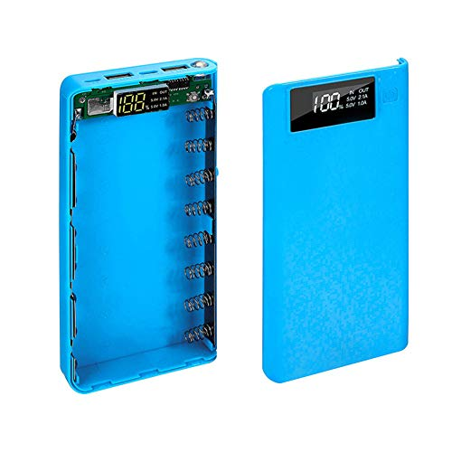 HOVTOIL Power Bank Case Portable 18650 Battery Charger USB Type-C LCD Display DIY Mobile Power Bank Case Phone Accessories Long Service Life Blue