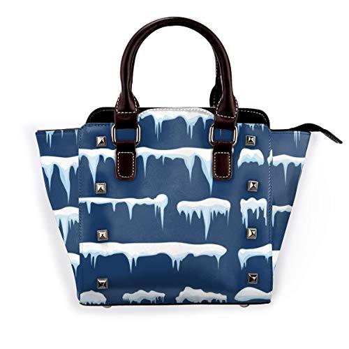 BROWCIN Winter Schnee Eiszapfen Kappe abstrakt Eis Drift Textur Frost Frozen Snowcap Snowy Abnehmbare mode trend damen handtasche umhängetasche umhängetasche