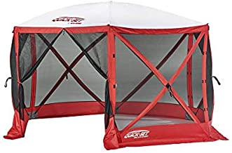 CLAM Quick-Set Escape Sport 11.5 x 11.5 Foot Portable Pop Up Outdoor Tailgating Screen Tent 6 Sided Canopy Shelter w/Stakes & Carry Bag, Red/White