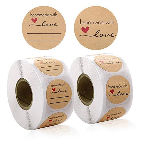 1000 Piezas Redondas Kraft Pegatinas Etiqueta Adhesiva Pegatina Rollo, Kraft Handmade with Love Stickers Labels Roll para Sello Scrapbooking Regalo Bolsa Recuerdo Boda Fiesta Aniversario Cumpleaños