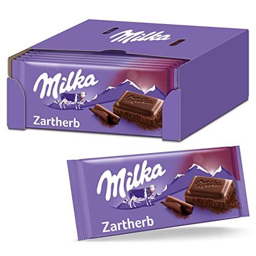 Milka Zartherb 23 x 100g, Zartschmelzende Schokoladentafel mit dunkler Alpenmilch Schokolade