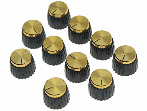 KAISH 10 perillas para amplificador de guitarra de color negro con tapa de aluminio dorado para amplificadores Marshall de 6 mm de diámetro.