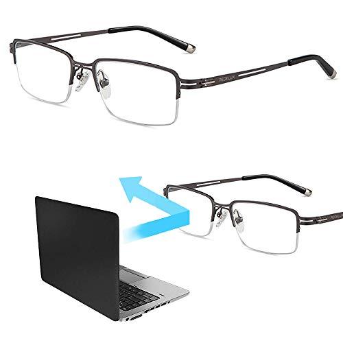 Half Frame Mens Leesbril, Anti Blue Light Resin Lenzen Legering Presbyopie Verziendheid Brillen Met Vergrootglas Graad 100 Tot 300,+ 1.00