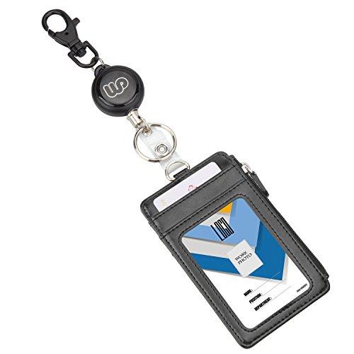 Wisdompro - Porta badge con mulinello retrattile, resistente, con tasca verticale e cerniera su 2 lati, in pelle sintetica di PU, porta badge, porta documenti e portachiavi
