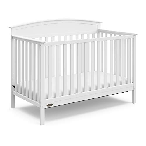 Graco Benton 4-in-1 Convertible Crib (White) – Easily Converts to Toddler Bed, Daybed or Full-Size Bed with Headboard, 3-Position Adjustable Mattress Support Base