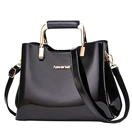 Nevenka Womens Fashion PU Leather Top Handle, Shoulder Handbag - Black