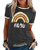 """Voqeen - Camiseta para mujer, diseño de letra con texto en inglés """"Good Crew Neck Graphic Tee gris oscuro L"""