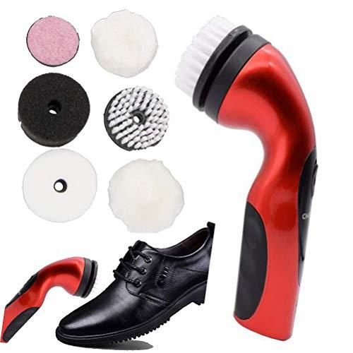PMU Kit de limpiabotas eléctrico, pulidor de Zapatos, removedor de Polvo Recargable, Kit de Cuidado de Zapatos de Cuero, Limpiador de Contacto eléctrico, Rojo