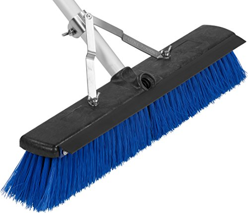Product Image of the Carlisle 3621961814 Sweep Complete Aluminum Handle Floor Sweep with Squeegee, Plastic Bristles, 18' Length, 3' Bristle Trim, Blue