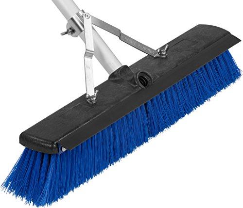 Carlisle 3621961814 Sweep Complete Aluminum Handle Floor Sweep with Squeegee, Plastic Bristles, 18' Length, 3' Bristle Trim, Blue