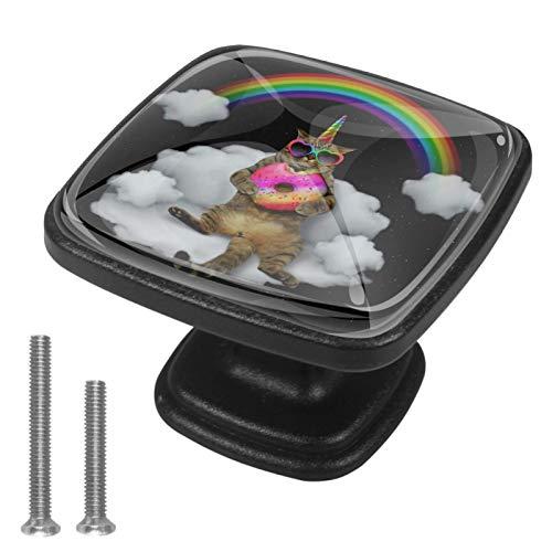 4 pomos negros para cajón de cocina, baño, armario, gato, unicornio en gafas de sol con donut