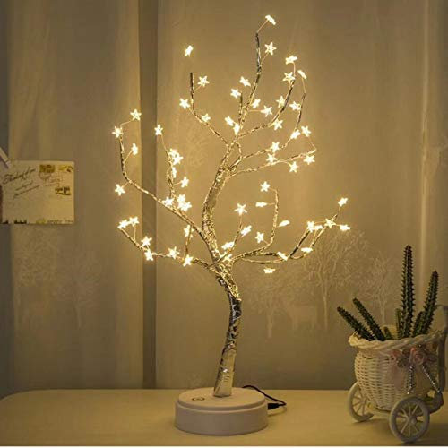 Holiday Creative Gift White LED with 60 White Star Table Lamp for Home Decoration Wedding Bedroom