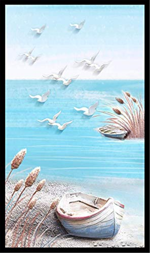 5D DIY Diamond Painting Kits Round Full Drill Set Adults Kids Seagull Boat sea Diamond Arts Crystal Rhinestone Embroidery Painting Pictures Cross Stitch Canvas Craft Home Wall Decor 40x80cm 16x32in