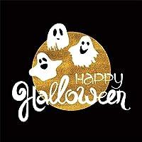 Qinunipoto 背景布 ハロウィン happy halloween 撮影用 写真撮影用 写真の背景 背景幕 ゴースト 黒の背景 パーティーの装飾背景 子供の写真の背景 ポートレート写真の背景 撮影道具 ビニール 1.5x1.5m